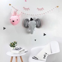 Elephant Rabbit Toys for Kids Room Decor Animals Head Dolls Decor Wall Mount Bedroom Decoration