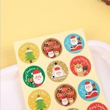 1200 шт Круглые уплотнительные наклейки рождественские новогодние