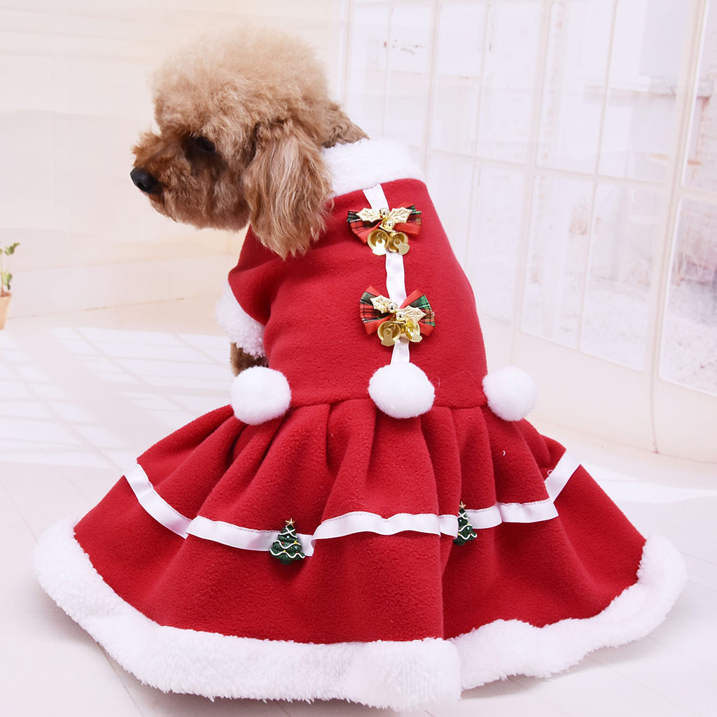 Christmas Dog Clothes Solid Color Dress Costume Dog Cat Coat For Small Dogs Cats Sweatshirt Cartoon