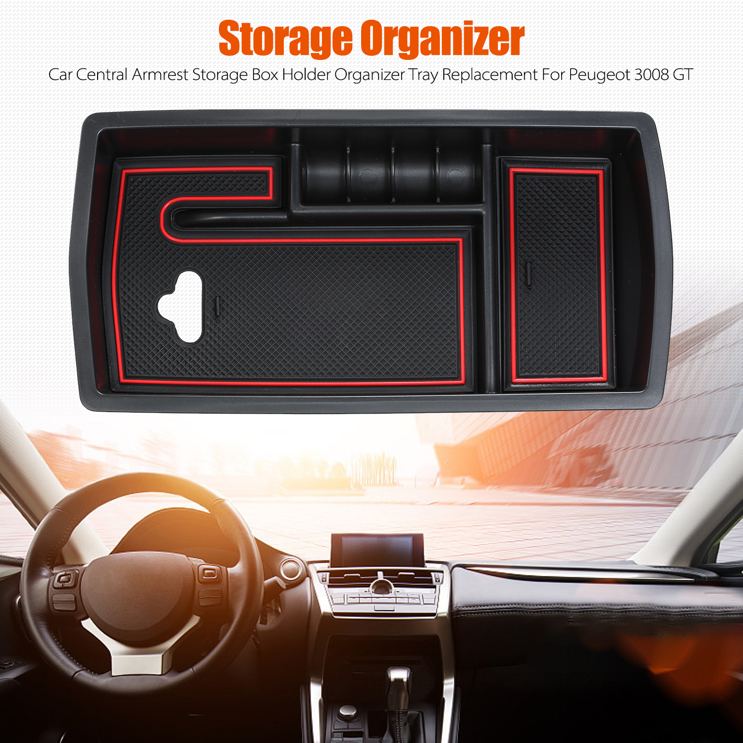 Car Central Armrest Storage Box Replacement For Peugeot 3008 GT 2016-2019 Center Console Organizer Storage Box Holder Organizer