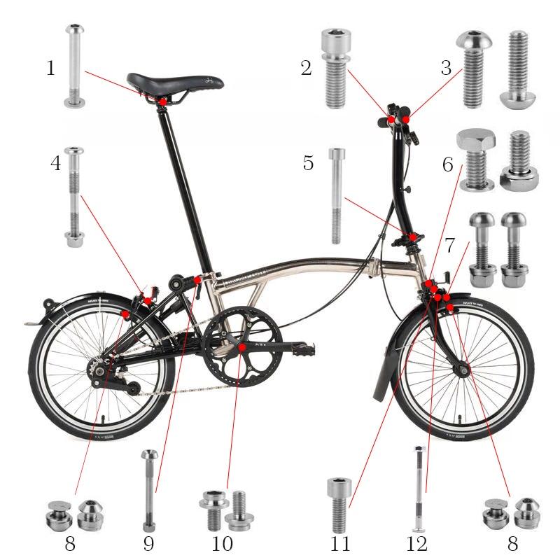 Ti Blot  Caliper Brake Shoe Titanium Bolt Set for Brompton Bicycle