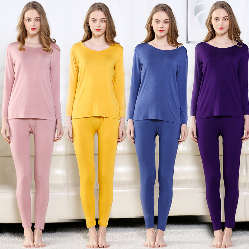 Women Thermal Underwear Sets High Elastic Thin Pyjamas Autumn Cotton Home Clothes Warm Sleepwear Suit Long Johns Plus Size L-7XL