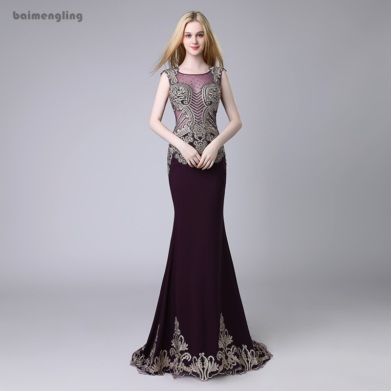 long evening dress, formal mermaid lace appliques dress