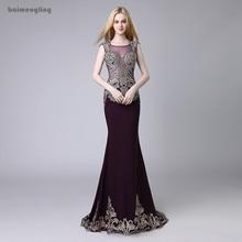 long evening dress, formal mermaid lace appliques dress