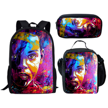 NOISYDESIGNS African American Men Printing School Bags for Kids Black Art Afo Boy Schoolbag Children 3pcs Bag Set Satchel