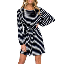 Casual Women Fashion Concise Autumn Long Sleeve Striped Pattern Sleeves Waist Strap Decoration Dress
