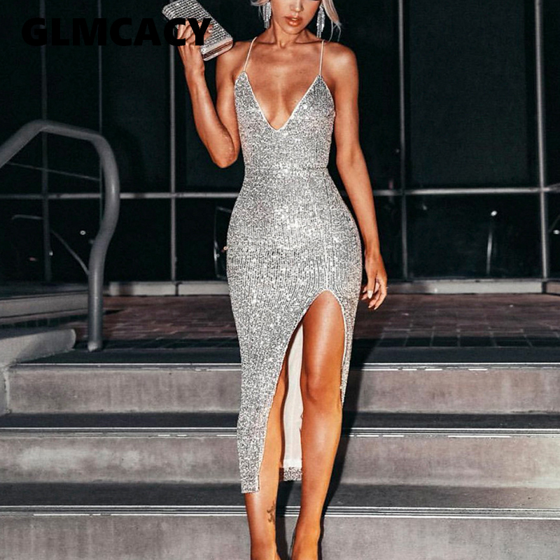 Women Spaghetti Strap Sequin Slit Bodycon Dress Slim Strap Sexy Party Dress Summer Sequined Evening Party Vestidos Mujer