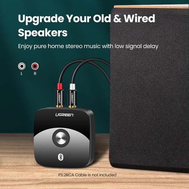 UGREEN Bluetooth RCA Receiver 5.0 aptX LL 3.5mm Jack Aux Wireless Adapter Music for TV Car RCA Bluetooth 5.0 Audio Transmitter 2