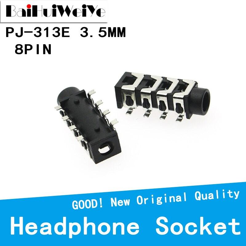 20PCS/LOT 3.5mm Female Audio Connector 8 Pin SMT SMD Headphone Jack Socket PJ-313E PJ313E