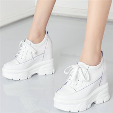 Lace Up Fashion Sneakers Women Genuine Leather Wedges High Heel Ankle Boots Female Round Toe Platform Pumps Shoes Casual Shoes punk trainers women cow leather wedges high heel platform pumps shoes female lace up tennis shoes embroider flowers casual shoes