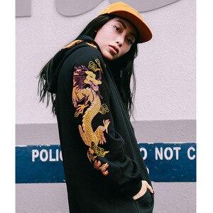 Image 5 - 고대 중국 드래곤 인쇄 패션 까마귀 Streetwear 망 힙합 까마귀 스웨터 캐주얼 블랙 풀 오버 코튼 가을 2020