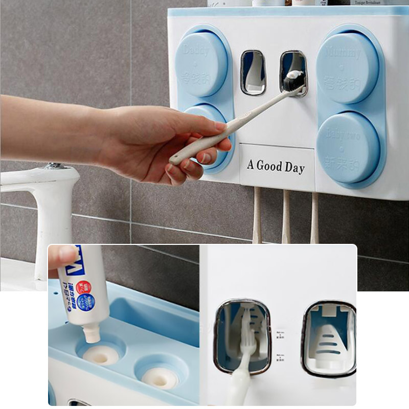 Image 2 - Family Tooth Brush Holder Set Easy Install Plastic Bathroom Toothbrush Storage Rack Toothpaste Dispenser with 4 Cup-in Toothbrush & Toothpaste Holders from Home & Garden