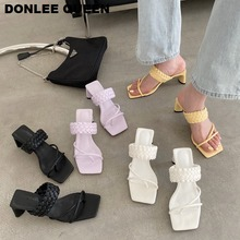 Fashion Weave Slippers Women Slip On Slides Square High Heel 5CM Sandal Narrow Brand Flip Flops Beach Slipper Casual Shoes Women lucyever women shoes flip flops 2018 new summer rhinestones high heel slip on women slipper black blue flip flops size 35 41
