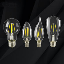 LED filament light bulb E27 retro Edison lamp 220V E14 retro C35 C35L A60 ST64 candle light earth security lamp COB home(China)