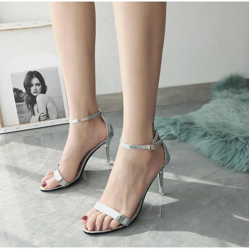 Summer Women Thin High Heels Sandals PU Leather Woman Cover Heels Classic Female Shoes Ankle Strap Elegant Ladies Shoes Fashion