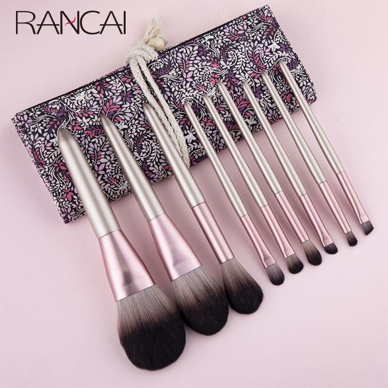 RANCAI 9pcs Hight Quality Makeup Brushes Set Maquiagem New Foundation Eyebrow Eyeliner Cosmetic Makeup Brushes With Bag