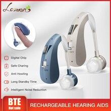 Ricaricabile Mini Digital Hearing Aid Amplificazione del Suono Amplificatori Wireless Orecchio Aiuti per Gli Anziani da Moderata a Grave Perdita di Trasporto di Goccia