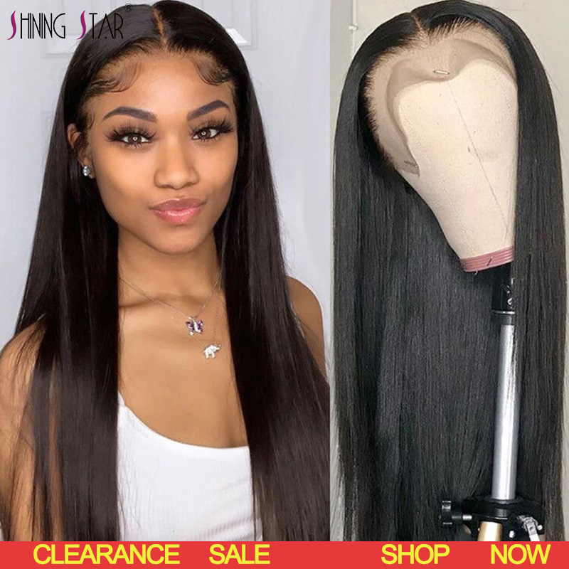 13X4 Lace Front Human Hair Wigs Black Women Pre Plucked Wig Brazilian Straight Lace Frontal Wigs With Baby Hair Remy Shiningstar