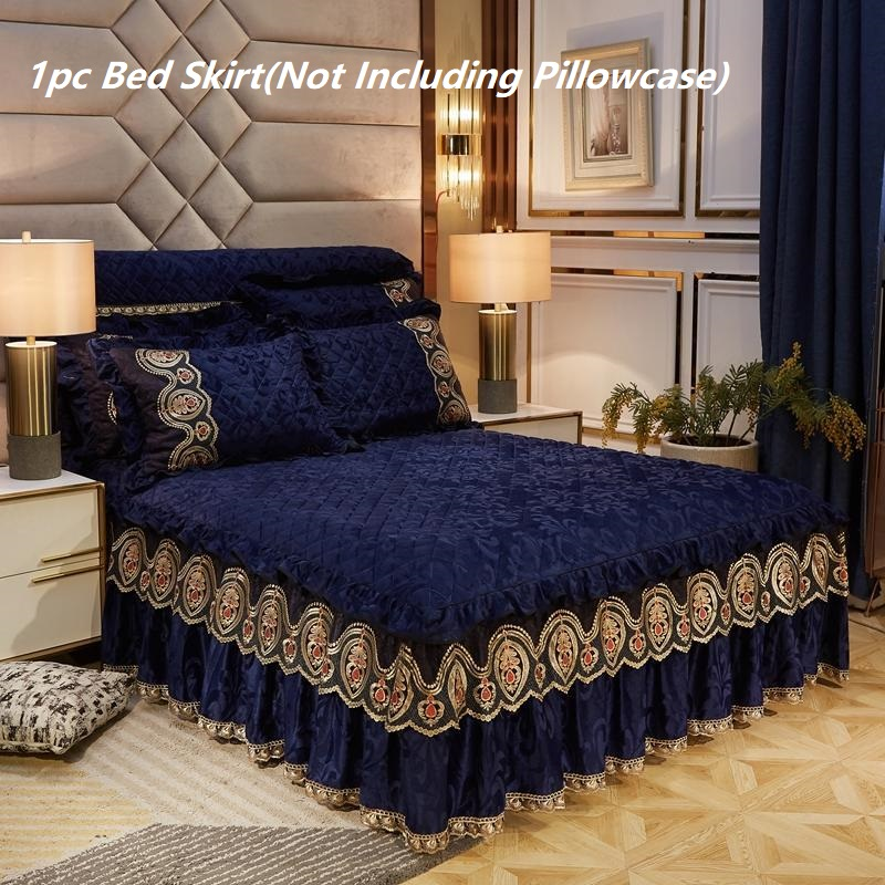 Thicken Quilted Bed Skirt Plush Luxury Padded Bed Skirt No Pillowcase Velvet Warm Soft Flat Bed Sheet Queen King Lace BedSpread