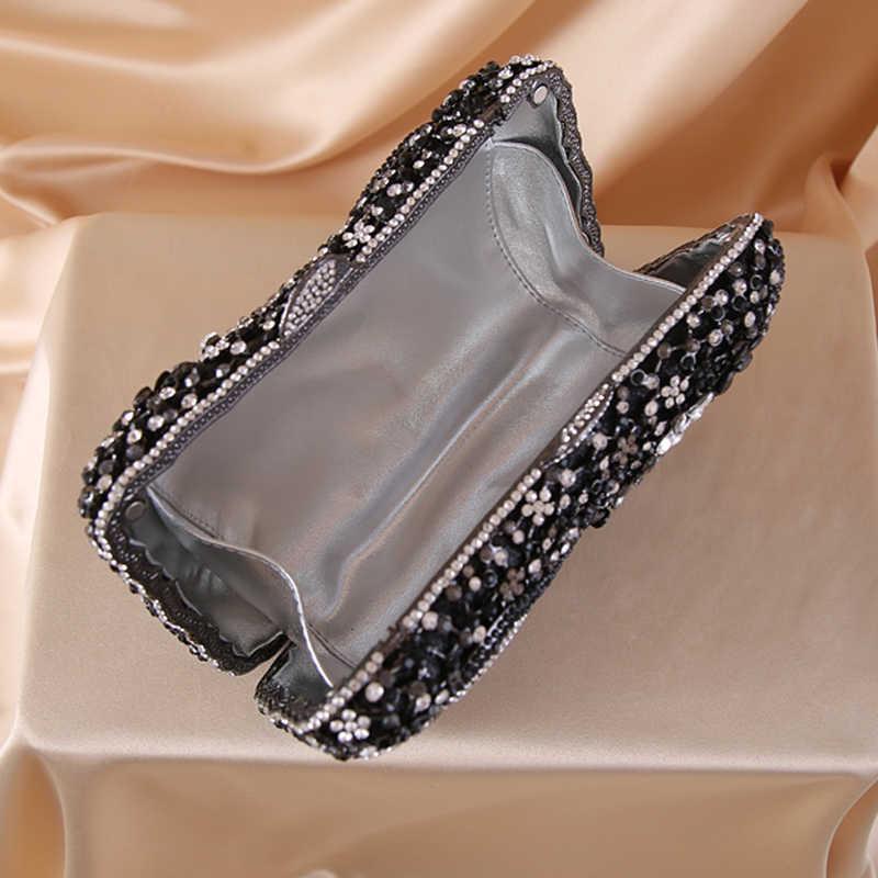 O kolorze szampańskim 2020 najnowsze cyrkonie kryształowe damskie wieczorne sprzęgło torebka moda damska Prom sprzęgła obiad łańcucha torebki
