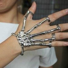 Pulseira de punk de vapor pulseiras de jóias masculino gótico mão crânio esqueleto elasticidade ajustável casal pulseiras para mulher