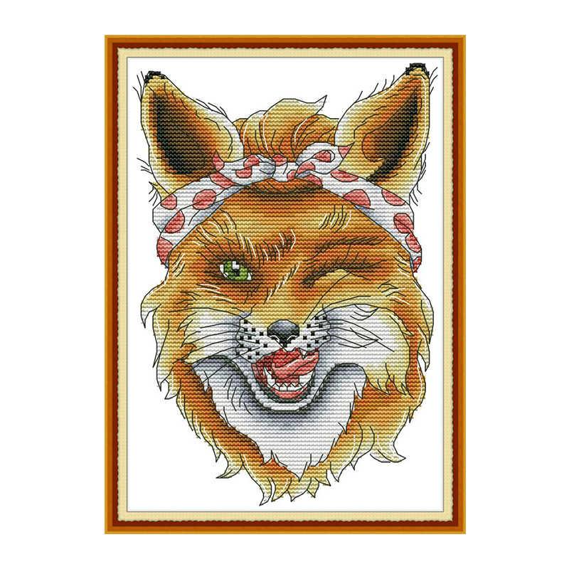 SLY Fox การ์ตูนสัตว์รูปแบบนับชุดปักครอสติชชุดเย็บปักถักร้อยชุด Aida 11ct 14ct พิมพ์ผ้าใบ DIY ของขวัญงานฝีมือเย็บปักถักร้อย