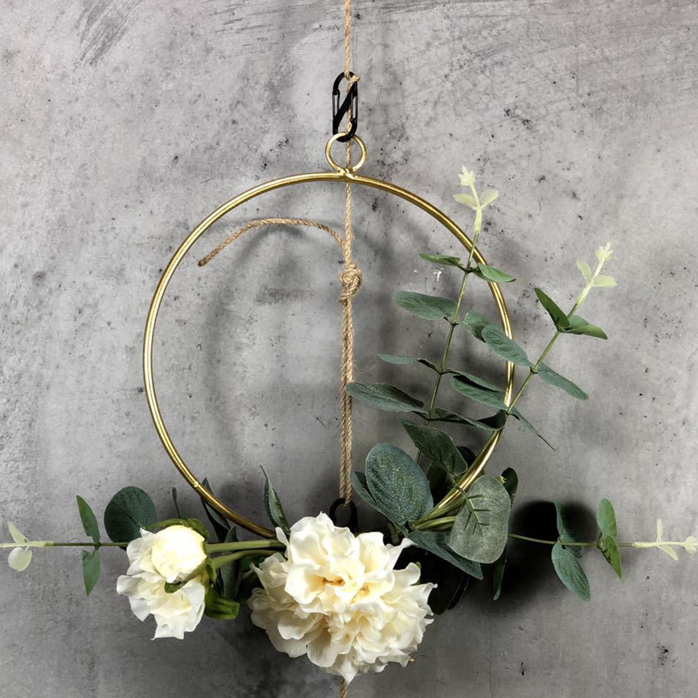 Wall Flower 3PCS Square Frame Decor Cilected Hoop Flower Round Wedding Artificial Geometric Backdrop Wreath Triangle For Hanging