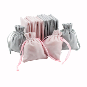 Image 1 - 50pcs Jewelry velvet Ribbon Drawstring Bag 8x10cm Personalized Packaging Chic Grey Pink Velvet Pouch for Wedding Favor Gift Bags