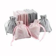 50pcs 쥬얼리 벨벳 리본 drawstring 가방 8x10cm 맞춤 포장 세련 된 회색 핑크 벨벳 파우치 결혼식 호의 선물 가방에 대 한