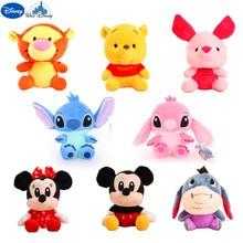 Disney-figuras de acción de animales de peluche para niños, juguetes de Stitch, Winnie, Mickey, Minnie, Tigger
