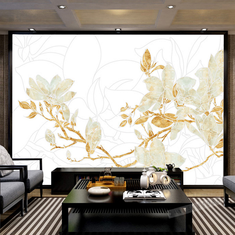 Modern Chinese Style Television TV Wall Sofa Wallpaper Mural Xie Chamber Lan Yu Modern European Style Wall Mural