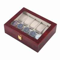 Practical 10 Grids Wooden Watch Box Durable Home Jewelry Display Collection Storage Case Watch Organizer Box Red