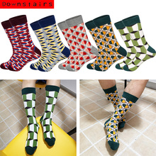 Downstairs 5pairs/lot Mens Socks Classical Lattice Striped Gifts for Men Cotton Streetwear Crew Happy Meia Masculina