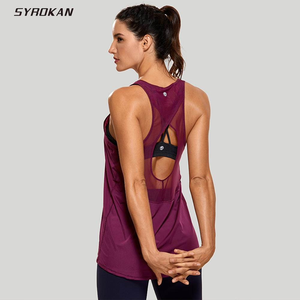 SYROKAN Women's Tops Activewear Mesh Workout Sports Racerback Cute Tank Tops