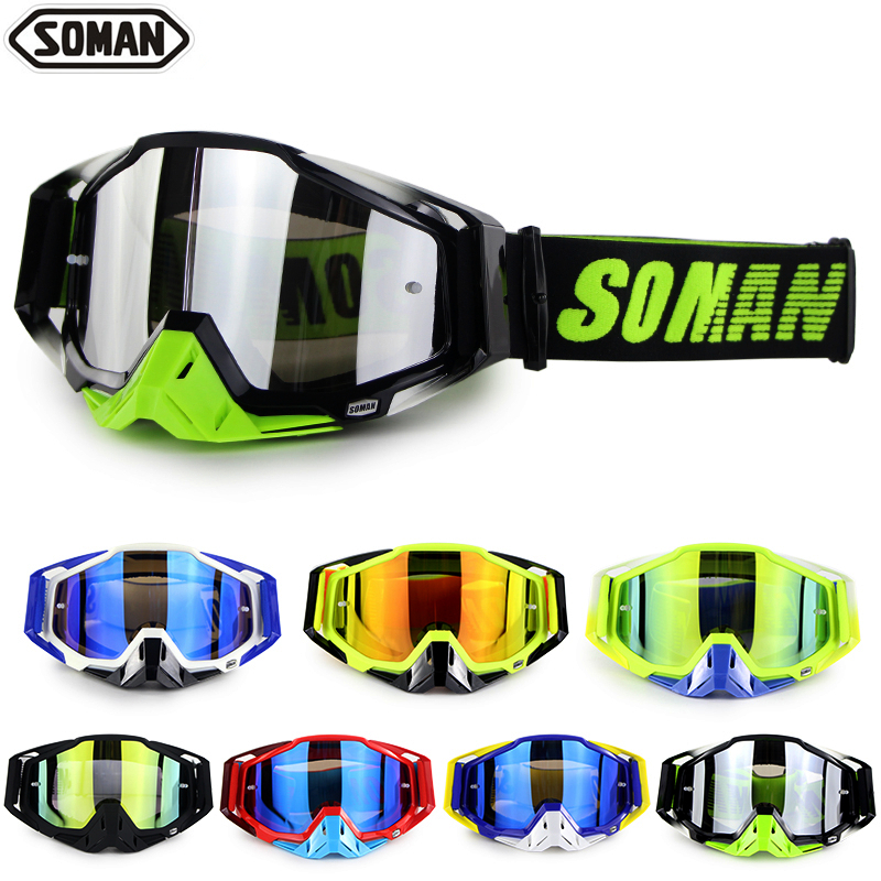 SOMAN Dirt Bike Goggles Mx Motocross Glasses Dustproof Motocross Goggles Windproof Downhill Gafas Lunette Brillen For Motorcycle