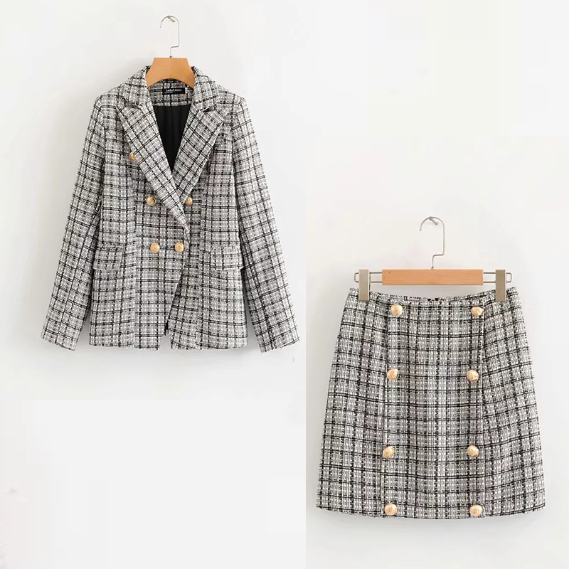 Women suits skirt suit Autumn and winter new double-breasted plaid blazer Casual office suit female Slim skirt two-piece 2019