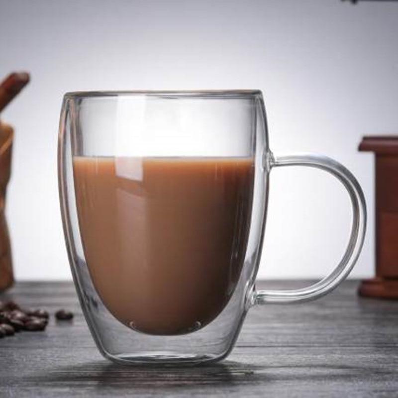 1Pcs Water Bottle Coffee Cup Heat resistant Double Wall Glass Cup Beer Handmade Milk Lemon Juice Cup Drinkware|Transparent|   - AliExpress