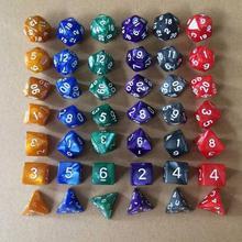 7 шт./компл. 17 Цвета многогранные кости d& d4 d6 d8 d10 d% d12 d20 многогранные TRPG игры Набор Игральный костей Настольная игра развлекательные кубики SD