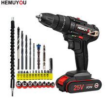 25V Power Tool Electric Screwdriver lithium Battery Rechargeable Electric Drill Multi function Cordless Impact Drill