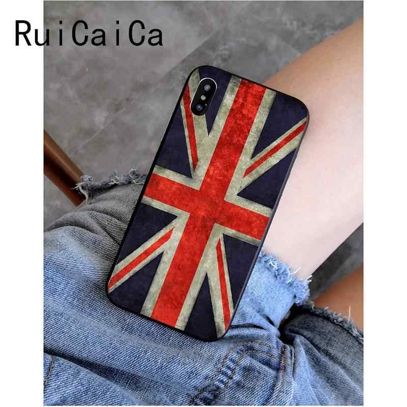 RuiCaiCa สหราชอาณาจักรอังกฤษ FLAG TPU ซิลิโคนโทรศัพท์สำหรับ iPhone 8 7 6 6S PLUS X XS MAX 5 5S SE XR 11 11pro 11 PROMAX