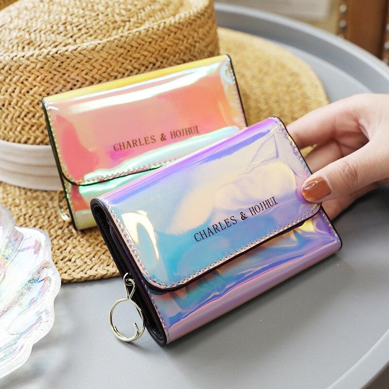 Laser Holographic Wallet Women 2020 Korean Cute Multifunction Mini Square Purse Ladies Patent Leather Simple Organizer Holders