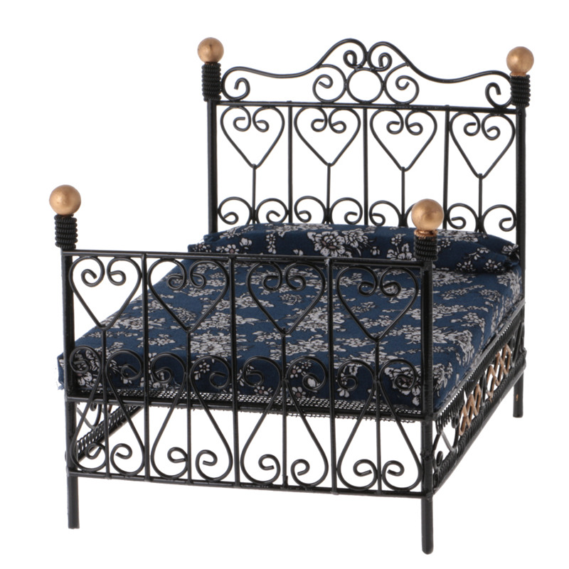1: 12 Dollhouse Miniature Bedroom Furniture Metal Bed With Mattress Accessory Toy Black