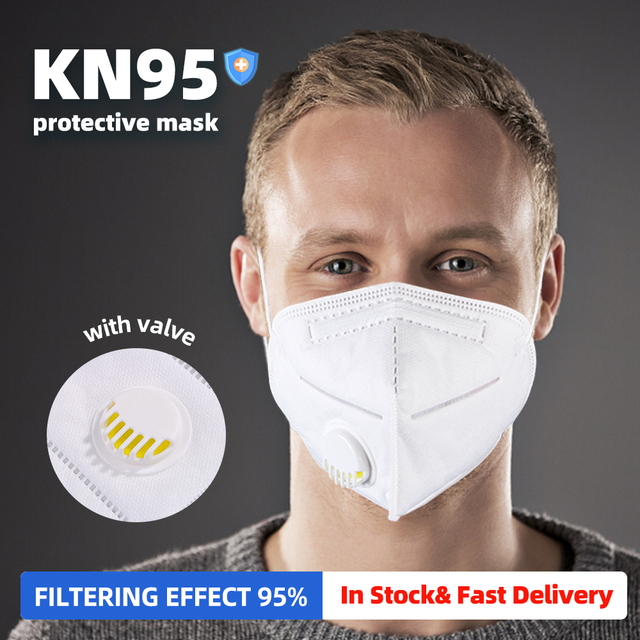 KN95 Mask with Valve Safety Protective Mask PM2.5 N95 Fliter Anti Dust Pollution Earloop Face Mask Flu Respirator as KF94 9502v