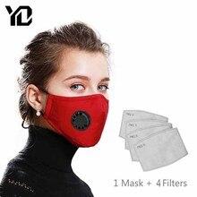1Pz. Máscara facial de boca + 4Pz. Máscara de filtro de papel Algodón reutilizable PM2.5