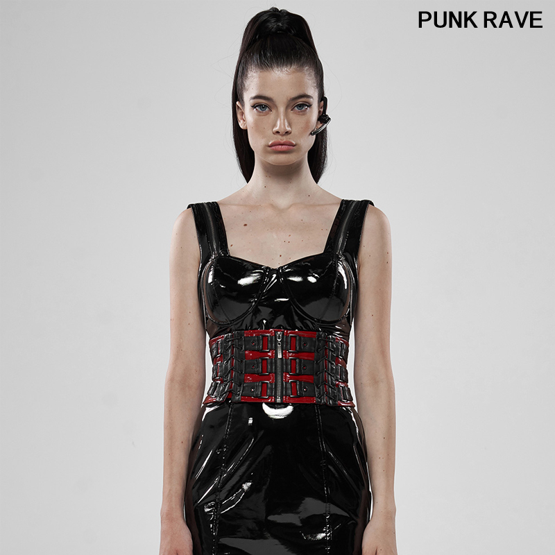 Palace Noble Patent Leather Personality Corset Gothic Love And Imprisonment Heavy Metal Women's Waist Girdle PUNK RAVE WS-323YDF