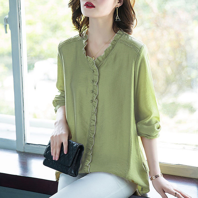 Women Spring Autumn Style Blouses Shirts Lady Casual V-Neck Long Sleeve Loose Style Blusas Tops DD8853 6