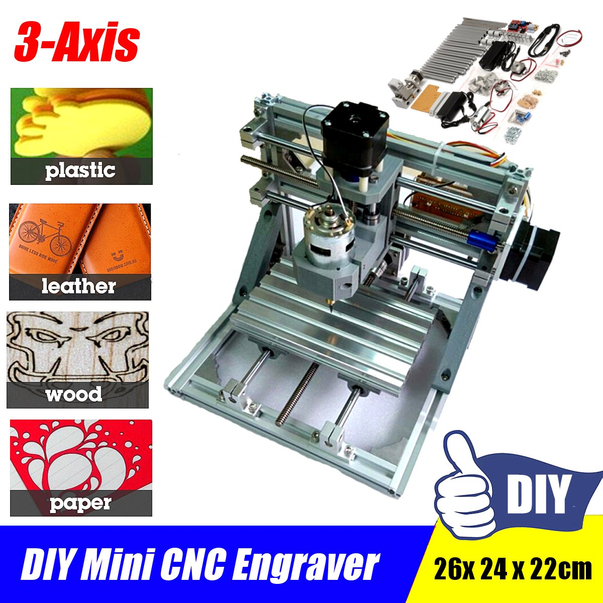 3-Axis Mini CNC Desktop Wood Router Engraver PCB PVC Milling Wood Carving Carving Machine GRBL DIY Set Kit