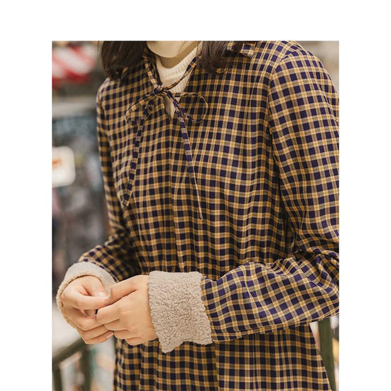 INMAN 2019 Осень Зима Новое поступление элегантное женское платье в клетку с отложным воротником и эластичной талией А-силуэта с контрастным рукавом
