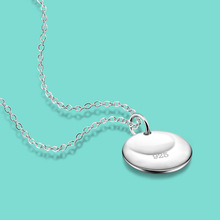 925 sterling silver necklace women fashion contracted clavicle Ms round card pendant to a friend