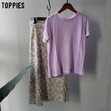 toppies summer sets purple cotton linen tops elastic waist s